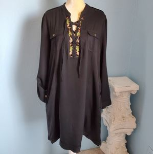Chelsea & Theodore lace up shirt dress E39